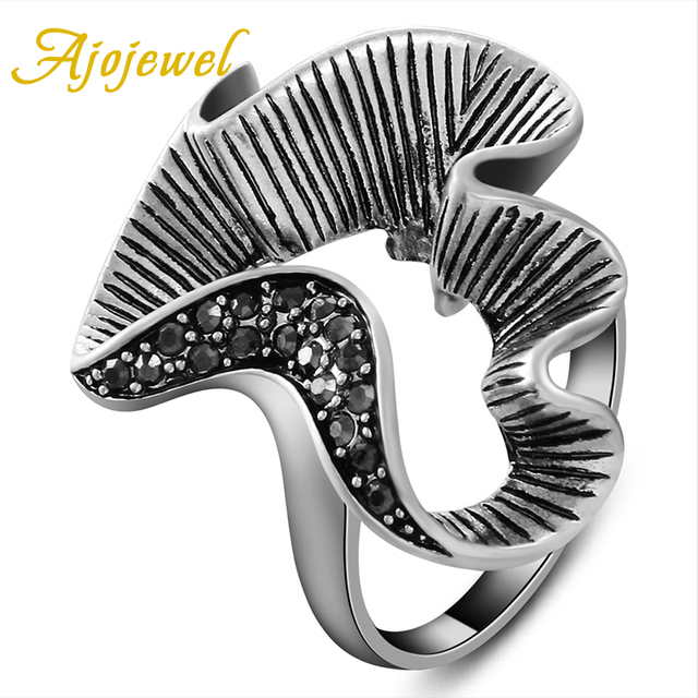 Ajojewel Brand Retro Style Ladies Rings New Fashion Womens Jewellery Special Design Vintage Ring For Women