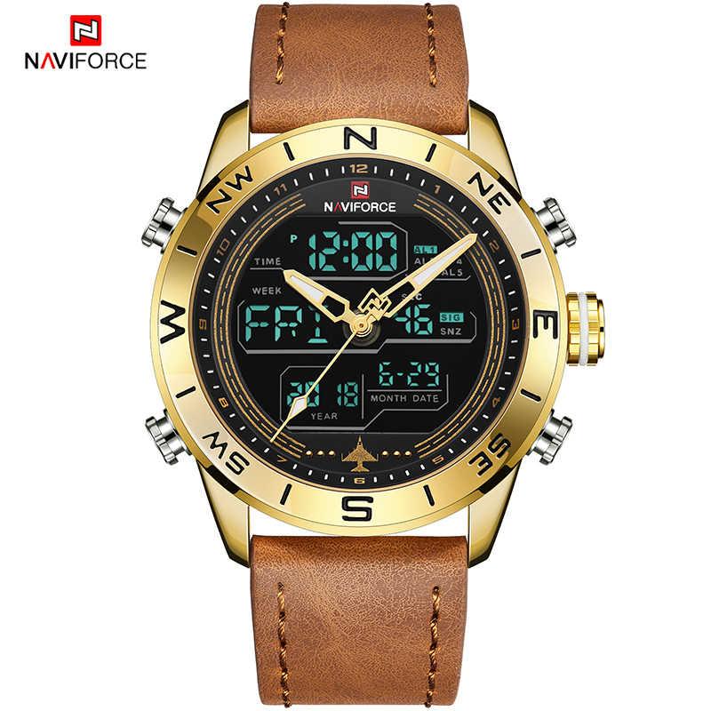 Reloj militar de marca de lujo para hombre NAVIFORCE 9144, reloj militar de oro, reloj deportivo de cuero Digital Led, reloj de cuarzo para hombre, reloj Masculino