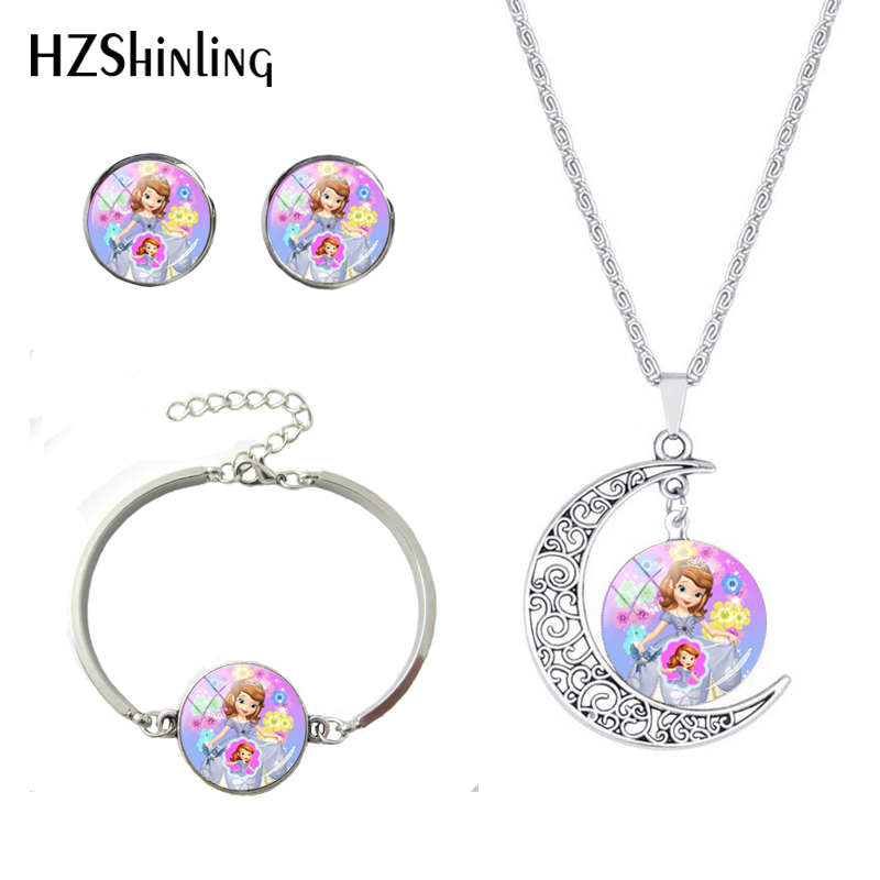 2019 Fashion Crown Sofia Princess Moon Necklace Set Cartoon Cute Princess Girl Glass Dome Toy Jewelry Set Best Gift for Kids