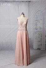 ФОТО A-line Pink Prom Dresses  O-neck Sleeveless Sheer Back Floor Length Chiffon and Crystals Evening Dresses Vestido De Festa