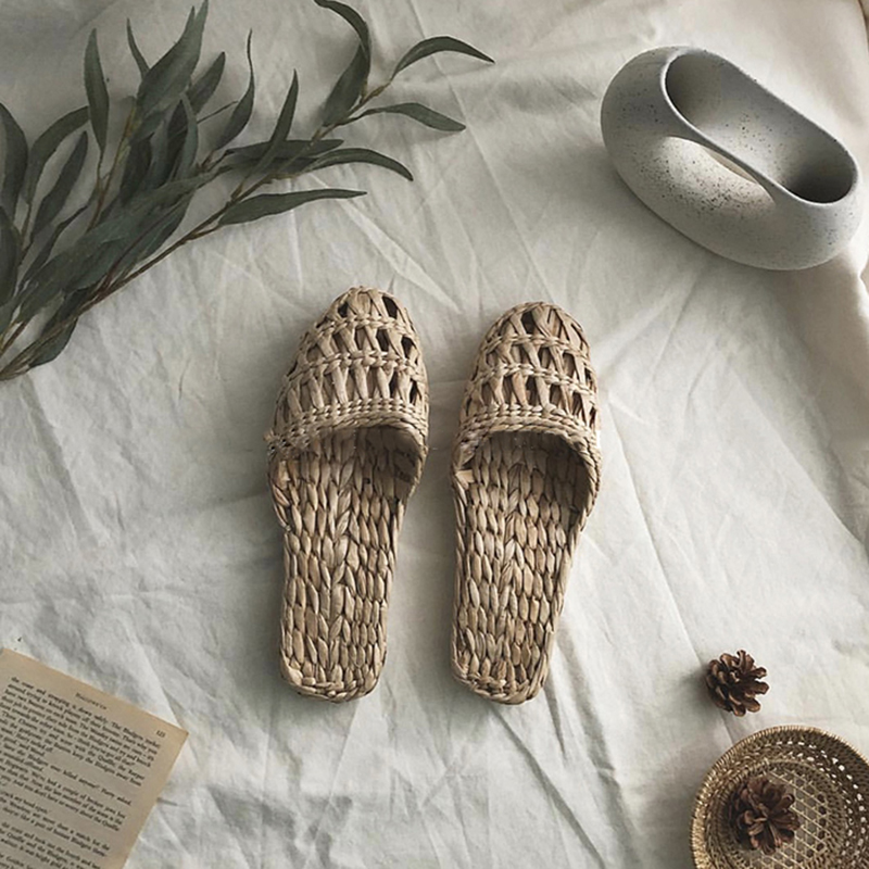AGESEA Summer Fashion Unisex Home Shoes Women's Straw Slippers New Couple Shoes Handmade Chinese Style Comfortable Sandals -cxlk