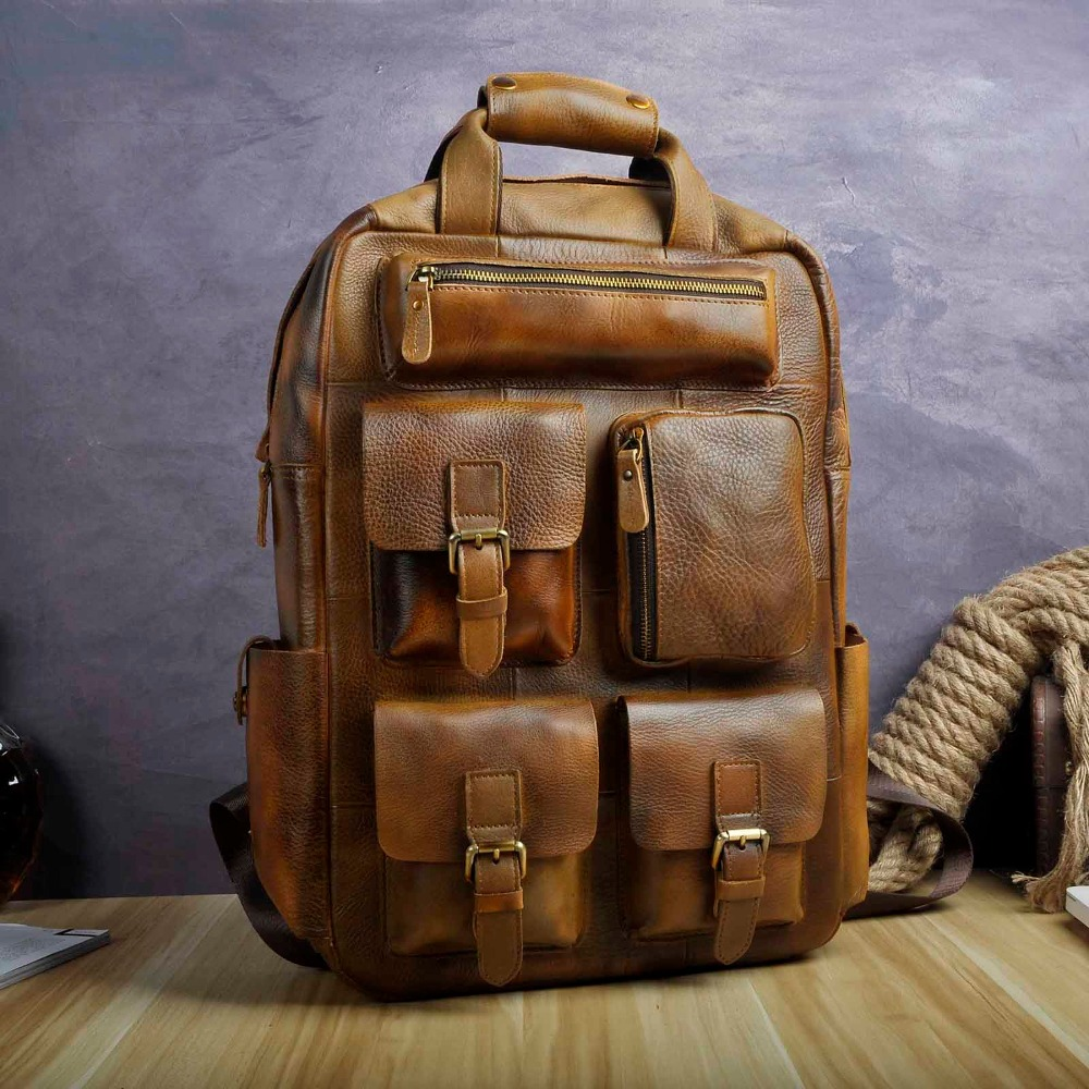 Leather Heavy Duty Design Men Travel Casual Backpack Daypack Rucksack Fashion Knapsack College School Book Laptop Bag 1170lb genuine leather heavy duty design men travel casual backpack daypack fashion knapsack college school book laptop bag male 1170c