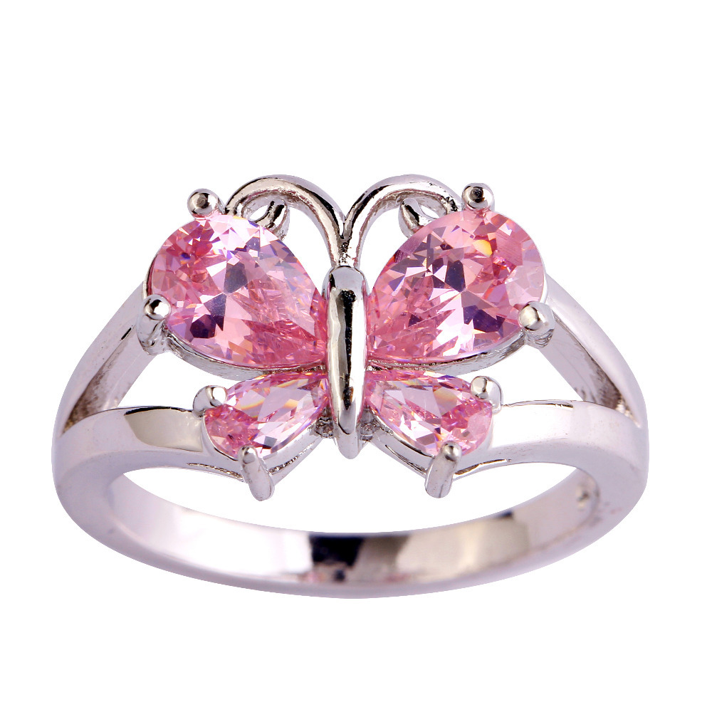 lingmei Beautiful Butterfly Pink CZ Silver Color Ring Size 6 7 8 9 ...