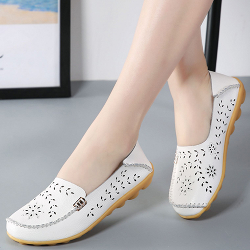Genuine Leather Shoes Women Ballet Flats Summer Loafers Flat Shoes Ladies Moccasins Slip On Casual Ballerina Zapatos Mujer Size
