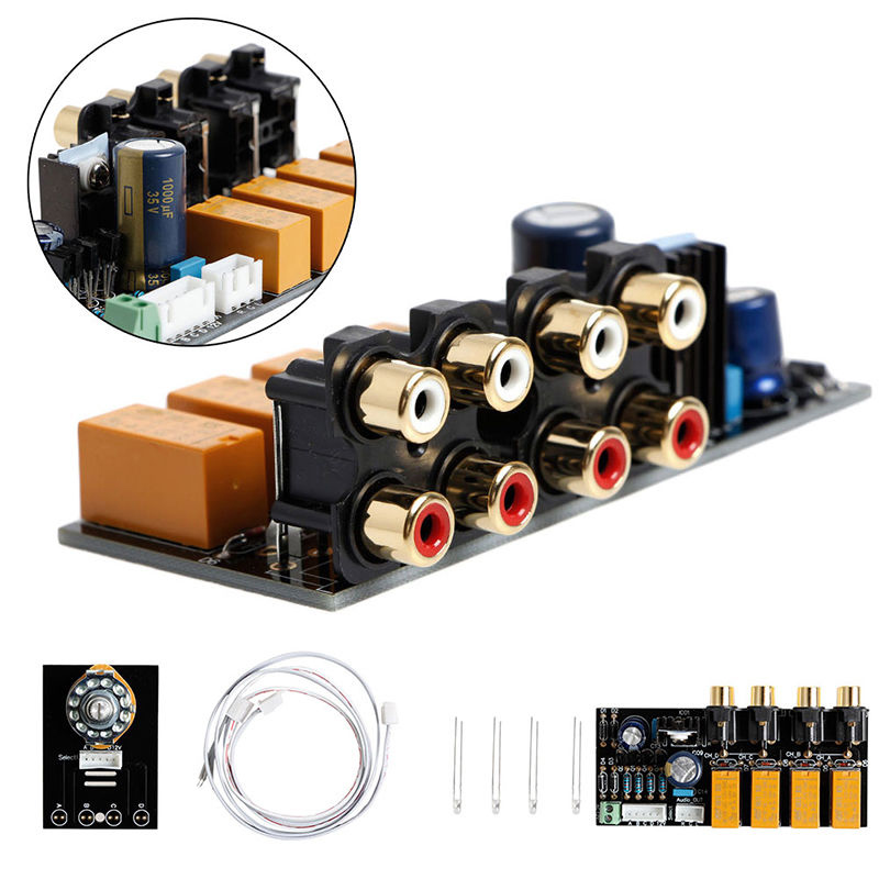 Double-sided 4 Channel Stereo Audio Input Signal Selector Relay Board Signal Switching Amplifier Board RCA For Speakers lite ga 5 4 alps remote volume control 4 ways board combined motor ac9 12v rca input