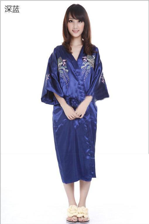 Navy blue Women s Embroider sleepwear Bath robe gown Lingerie Sleepwear  Kimono Satin Robe Bathrobe size S M L XL XXL XXXL-in Robes from Underwear  ... 5f79edd46