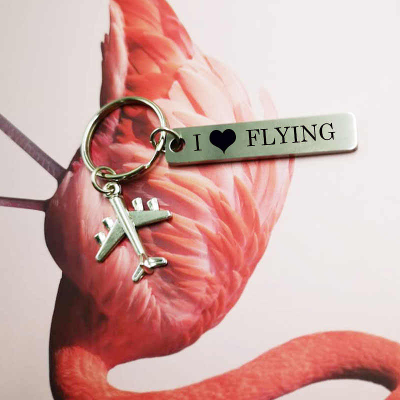 Novelty I Love Flight Keychain Bijoux Keychains for Pilot Flight Attendant Key Tag Plane Pendant Key Fobs  Key Ring Jewelry Gift