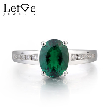 Leige Jewelry Emerald Engagement Ring Emerald Ring May Birthstone Oval Cut Green Gemstone 925 Sterling Silver Gifts for Women