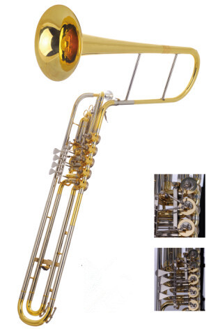 Cimbasso 5 Valve Rotary Trigger in Eb/F Foambody Case EMS Free shipping Brass Musical instruments