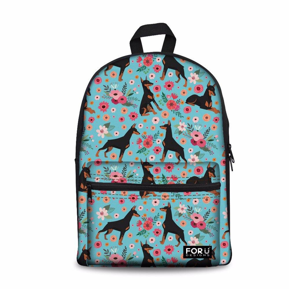 Sac à dos personnalisé femme grand ordinateur portable cartable pour enfants Doberman sac à dos de voyage sac à bandoulière féminin