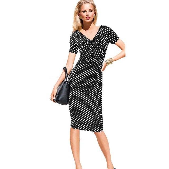 a75c6089c4c 2017 moda para mujer vestidos de polka dot negro pin up ropa elástico de la  rodilla