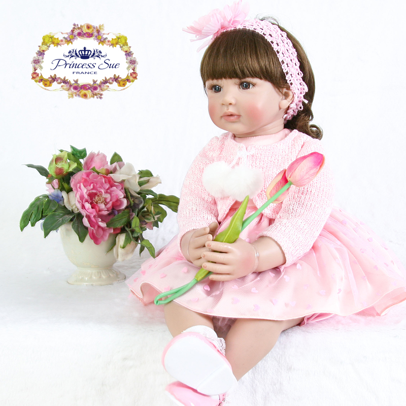 Toys for Girls 22 inch Pink Princess Curly Hair Adora Toddler Girl Dolls Stuffed Cloth Body Doll Bebes Reborn de Silicona