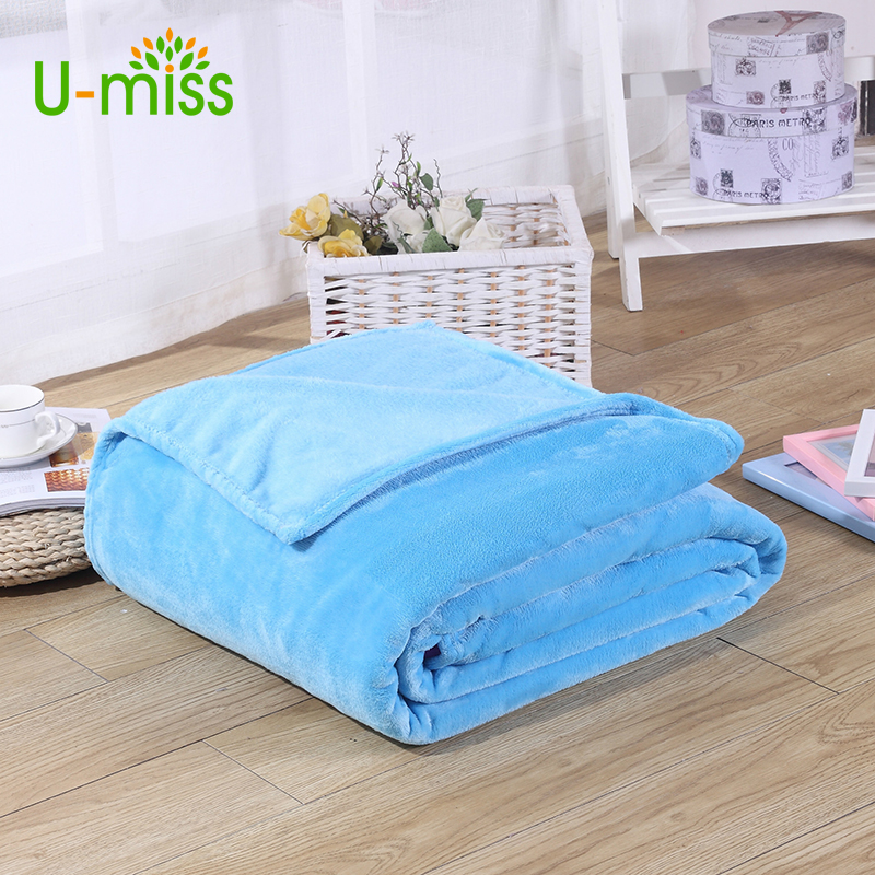U Miss Pure Coral Fleece Home Textile Solid Throws Flannel