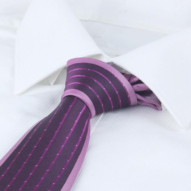 Púrpura lazos para hombre Jacquard microfibra negro 8 cm señores corbatas frontera pequeño punto raya Gravatas Masculinas púrpura lazos para hombre