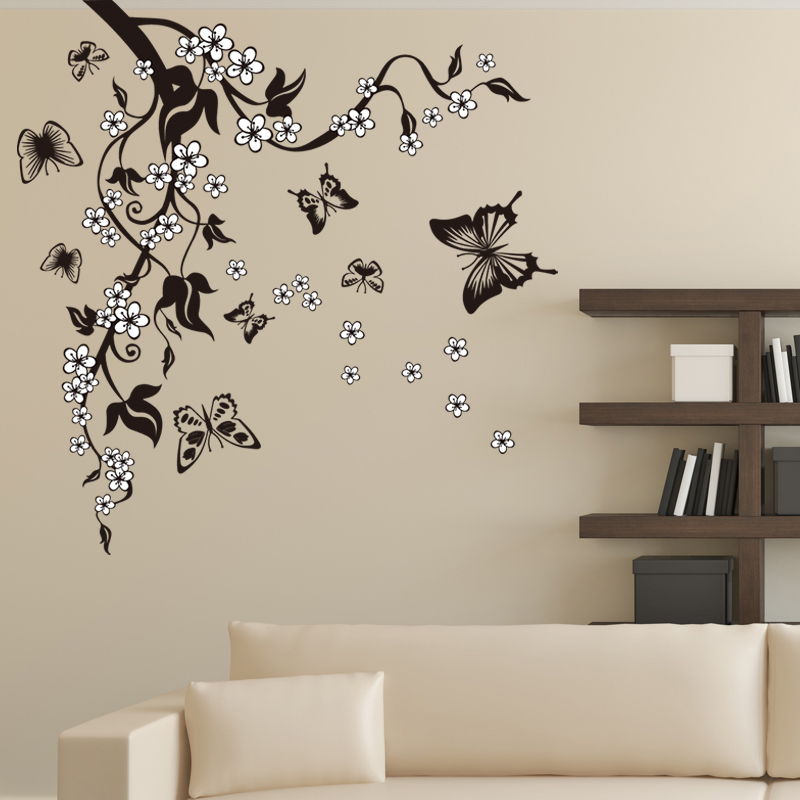 Creative Butterfly Flower Branch Decorative Wall Stickers Home Decor Living Room Decorations Pvc Wall Decals Diy Mural Art-in Wall Stickers from Home & Garden
