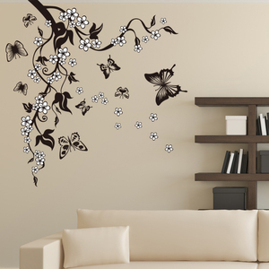 Image 1 - Creative Butterfly Flower Branch Decorative Wall Stickers Home Decor Living Room Decorations Pvc Wall Decals Diy Mural Art