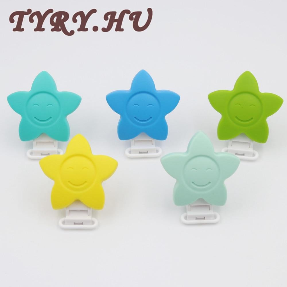 TYRY.HU 5 unids Silicona Masticable Bebé Chupetes Clips Estrella - Alimentación - foto 3