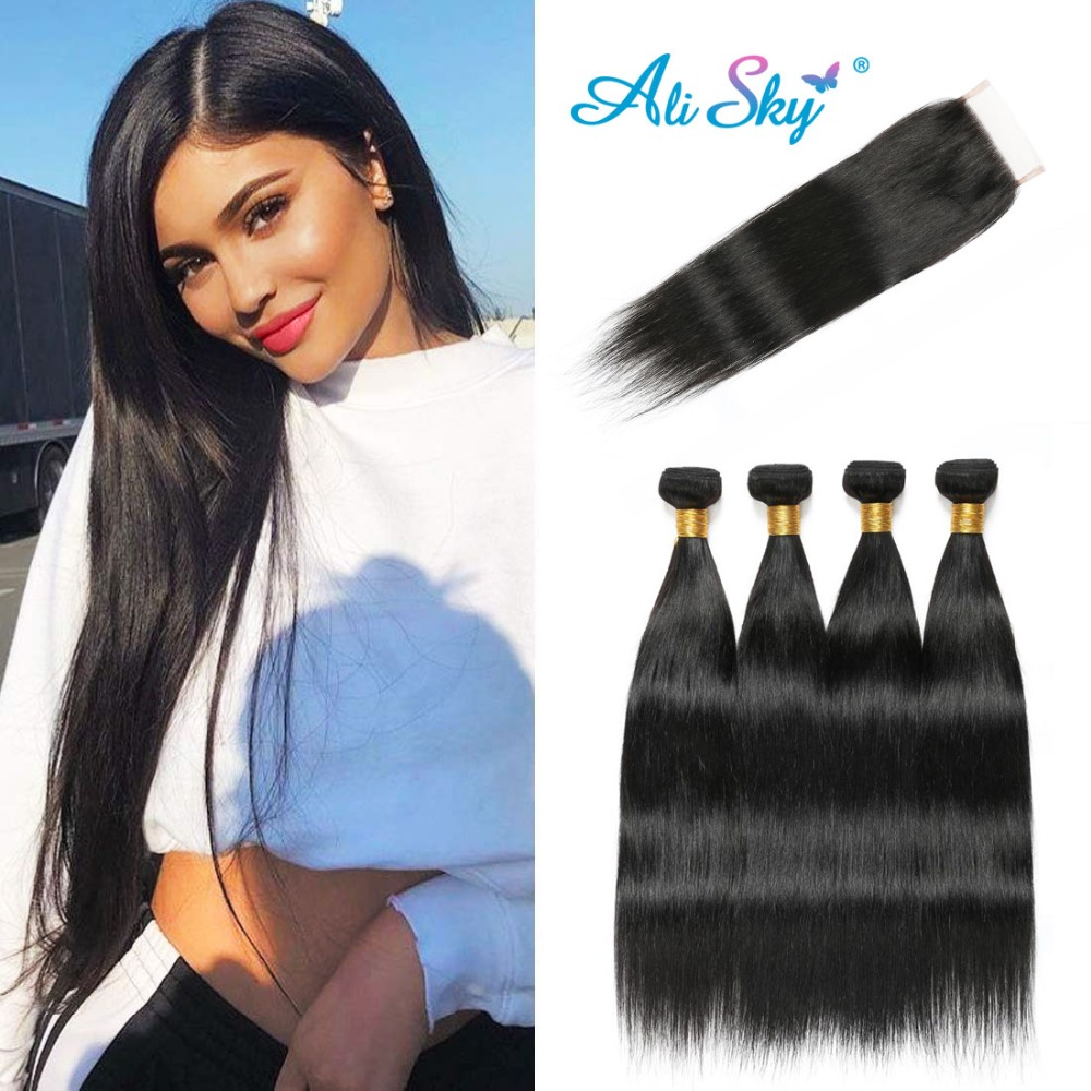 Raw Indian Straight Hair Bundles 4 Bundles With Closure Human Hair Bundles With Closure Ali Sky 4x4 Top Lace Closure Non Remy