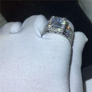 Image 5 - Choucong Vintage Gericht Ring 925 sterling Silber Prinzessin cut AAAAA cz stein Engagement Hochzeit band Ringe Für Frauen Schmuck Geschenk