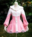 Ladies Victorian Lolita Gothic Palace Winter Warm Petal Hemline Pink White Coat Uniform Party Cosplay Anime Costume Any Size