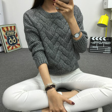 Women Fashion 2018 Spring Sweaters Basic Casual Knitting Winter Pullover Female Warm Gray/Khaki Sweater Twist Pattern,KB911