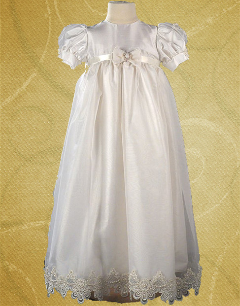 2016 Soft Light Baptism Gown Baby Infant Floor Length 0-24 Month Christening Dress Lace White/Ivory With Sash