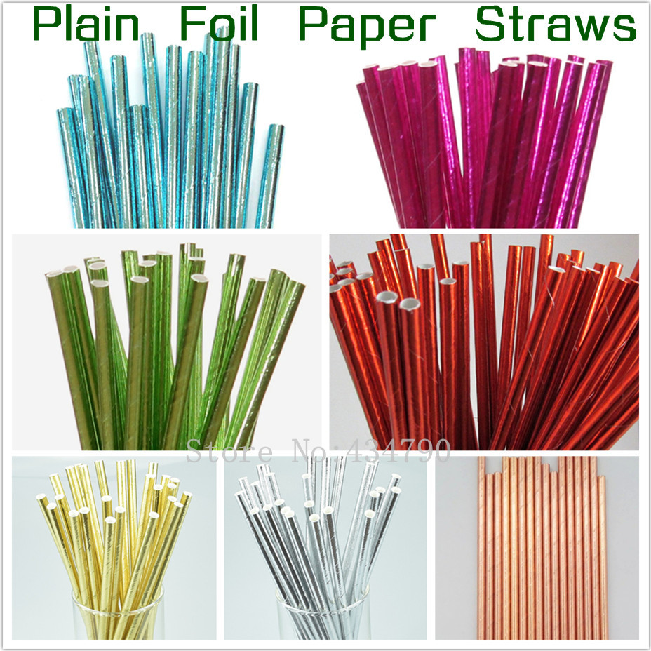 Free DHL 1000 pcs Metallic Pain Foil Paper Straws Bulk Shiny Pure Solid Color Blue Pink