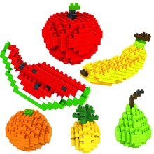 Diamond small particles assembled puzzle blocks inserted Creative Toy fruits