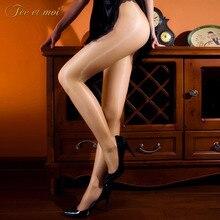 Твердый прозрачный блестящие колготки женские пикантная обувь открытая промежность Высокая талия колготки женские пикантные эластичные нейлон леди Medias чулки