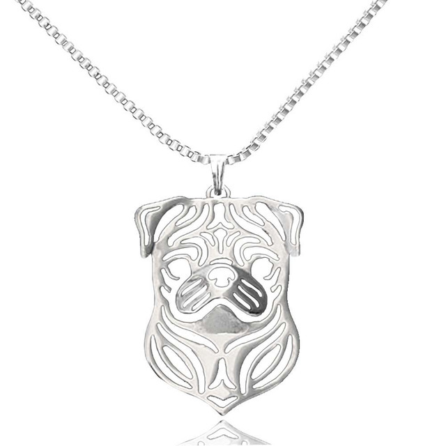 Pug dog pendant necklaces silver plated animal charms for women pug dog pendant necklaces silver plated animal charms for women handmade pet memorial collar jewelry 2017 aloadofball Image collections