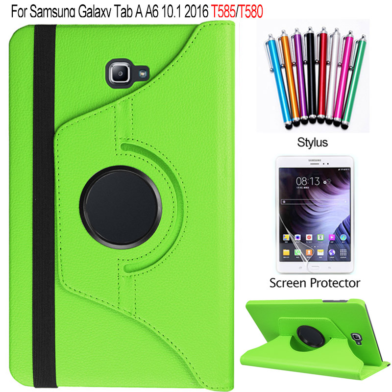 SM-T585 T580 For Samsung Galaxy Tab A 10.1 2016 Case 360 Degree Rotating PU Leather Stand Cover + Screen Protector + stylus 360 degree rotating flip folio swivel stand smart case cover for samsung galaxy tab a 9 7 inch sm t550 tablet screen protector