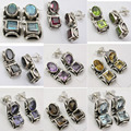 Silver Tribal Studs Earrings LABRADORITE, GARNET & More Gem Stones To Choose