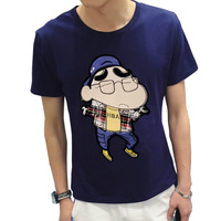 Summer Crayon Cartoon Embroidered Casual Funny T Shirt Men Cultivating Student T Shirt Men Japanese Clothing