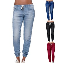 HEFLASHOR Solid Elastic Waist Jeans Women Casual Slim Jean F