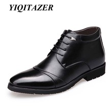 2017 YIQITAZER Winter Snow boots  Man Shoes Warm Genuine Leather Fur Boot Men Waterproof Rubber Motorcycle Mens Short Boots