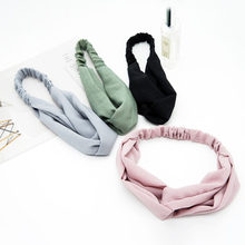 New Classic Headband Hair Band For Women Girls High Quality Hair Accessories Cross Knot Hairband Solid Color(China)