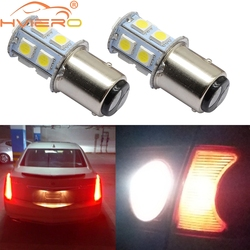 2X 1157 BAY15D 1156 BA15S P21 5W White Red 13smd Brake Parking Tail License Plate Lights Turn Signal Lamp Auto Rear Reverse Bulb