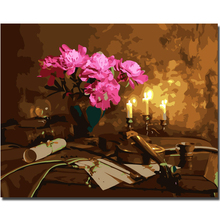 WEEN Pink Flower Violin-DIY Painting By Numbers Kit, Framed Paint By Numbers on Canvas, Modern Wall Art Picture, Acrylic Paint цена