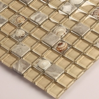 yellow color square clear crystal mosaic mixed shell shell tiles for kitchen backsplash tile bathroom shower border fireplace