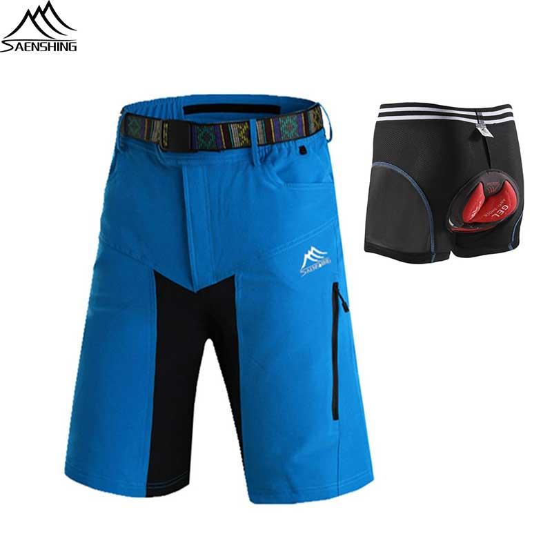 6fa01724a3 SAENSHING cuesta abajo Mtb pantalones cortos hombres Culotte Ciclismo Hombre  + Gel acolchado ropa de moto Gel pantalones cortos de Ciclismo bicicleta ...