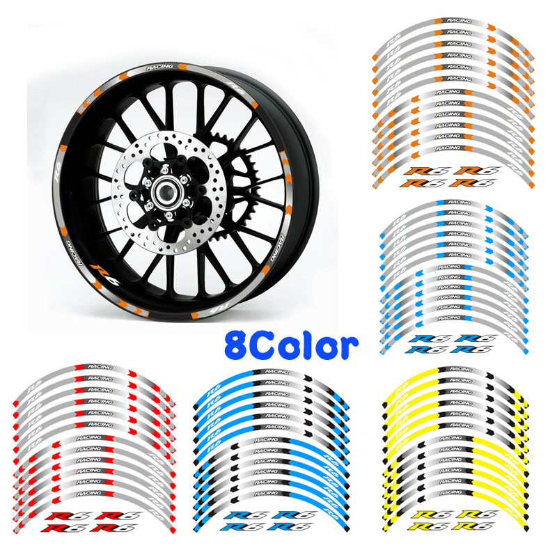High quality 8 color for <font><b>YAMAHA</b></font> ZYF <font><b>R6</b></font> motorcycle 17 inch <font><b>wheel</b></font> decals Reflective <font><b>stickers</b></font> rim stripes ZYF <font><b>R6</b></font> motorbike ZYF <font><b>R6</b></font> image