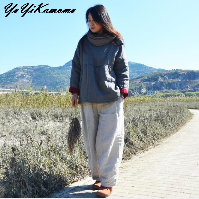 YoYiKamomo Cotton Linen Women Thcik Parkas Maxi Winter Autumn 2017 New Original Cotton padded Loose Casual