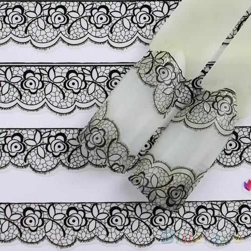 Fashion 3D Black Lace Design Nail Art Stickers Decals For
