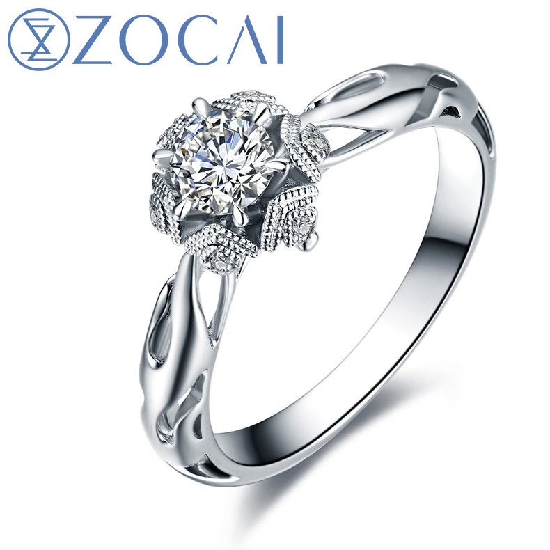 Aliexpress Buy ZOCAI New Arrival ICE And FIRE Series Real 031 Cttw Diamond Engagement Ring Color F G Clarity SI 18K White Gold W80081T 1 From