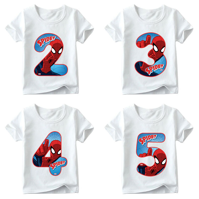 Boys and Girls Spiderman Avengers Letter Bow Print T shirt Baby Cartoon T-shirt,Kids Number 1-9 Birthday Present Clothes,HKP2429 men allover letter print curved hem shirt