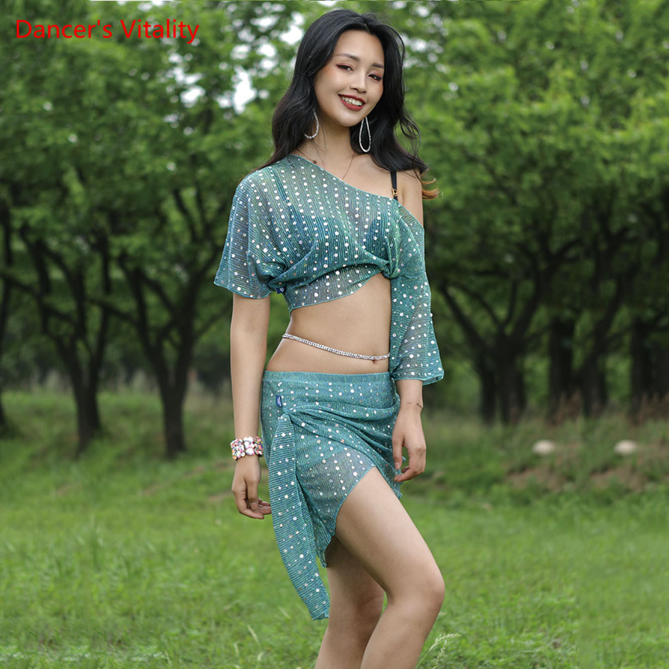 New Adult Belly Dance Oriental Dance Costume 2 Piece Bellydance Bling Bling Dancer Skirt Loose Top Practice Daily Wear