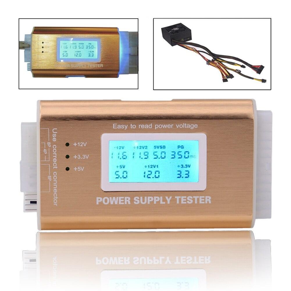 Digital LCD Power Supply Tester Support PC 20/24 Pin 4 PSU ATX BTX ITX SATA HDD Interface Gold