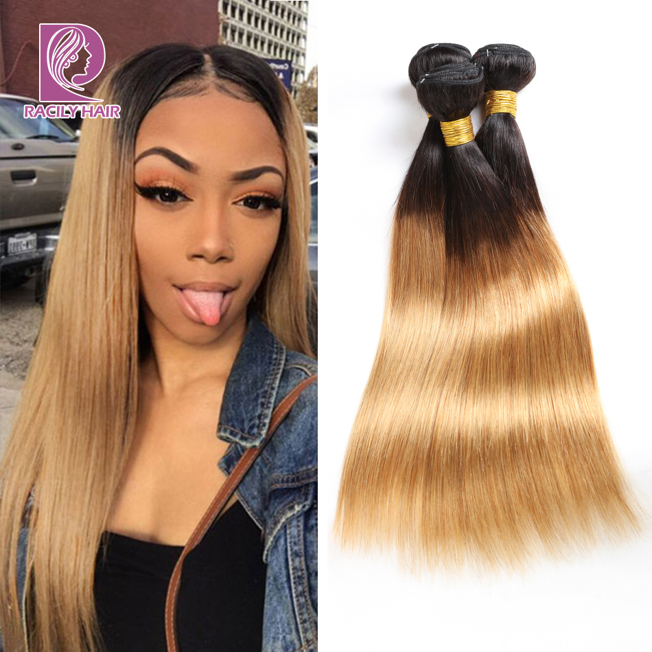 Racily Hair Ombre Brazilian Hair Weave Bundles Straight Weave 1/3/4 Bundles T1B/27 Blonde Hair Extension Remy Human Hair Bundles
