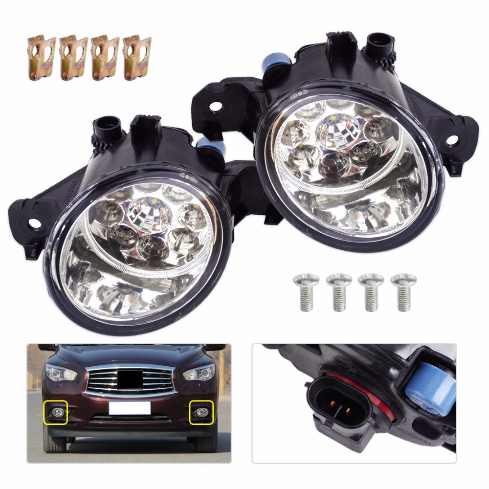 DWCX 1 Pair 12V 9 LED Front Fog Light Lamps DRL Daytime Running Driving Lights for Infiniti G37 JX35 Nissan Maxima Rogue Sentra автомобильный коврик seintex 85588 для infiniti jx35 qx60