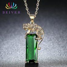 Beiver, модный зеленый кубический цирконий, желтое золото, крутая подвеска с леопардом, ожерелья для женщин, ювелирные изделия, ожерелья